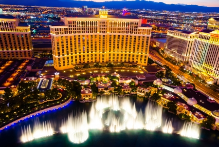 nevada: Las Vegas, USA - August 14, 2012: Musical fountains at Bellagio Hotel and Casino. The Bellagio opened October 15, 1998 and it was the most expensive hotel ever built at US$1.6 billion. Editorial