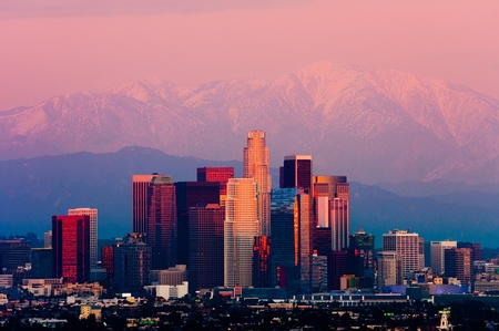 hollywood hills: Los Angeles at sunset Stock Photo
