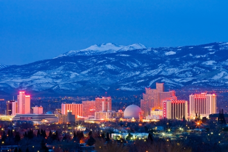 nevada: Reno, USA - February 2, 2013: Reno, known as The Biggest Little City in the World, is famous for it