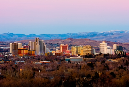 Reno, USA - February 9, 2013: Reno, known as The Biggest Little City in the World, is famous for it's casinos, and is the birthplace of the gaming corporation Harrah's Entertainment.