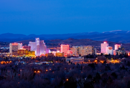 nevada: Reno, USA - February 9, 2013: Reno, known as The Biggest Little City in the World, is famous for its casinos, and is the birthplace of the gaming corporation Harrahs Entertainment. Editorial