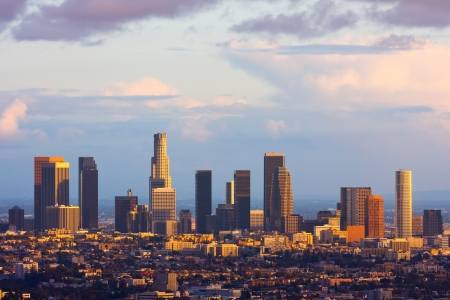 hotel building: Los Angeles downtown at sunset Stock Photo