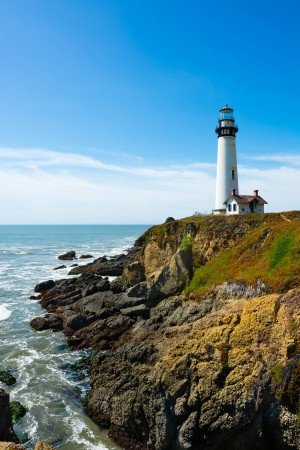 Pigeon Point Lighthouse in California 免版税图像