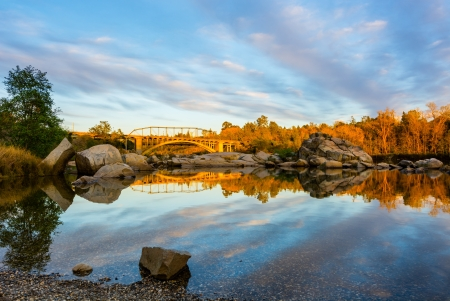 Rainbow Bridge in Folsom California at sunset