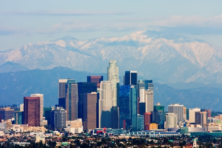 hollywood   california: Los Angeles with snowy mountains in the background