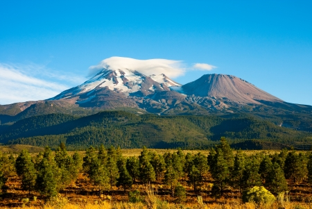 Clouds on top of Mount Shasta, California Stock Photo