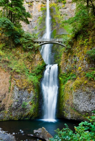 Multnomah Falls and bridge in the Columbia River Gorge, Oregon  photo