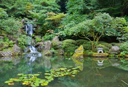 Waterfall in Portland Japanese Garden  photo
