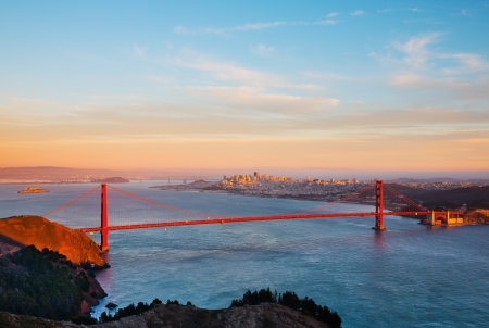 Golden Gate Bridge and San Francisco at sunset