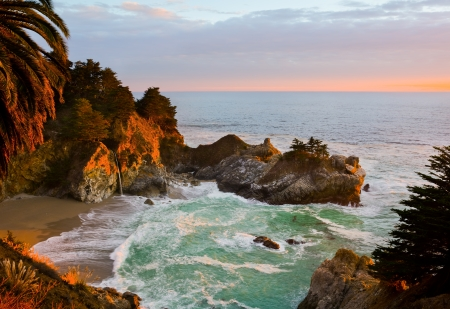 McWay Falls in Big Sur at sunset, California