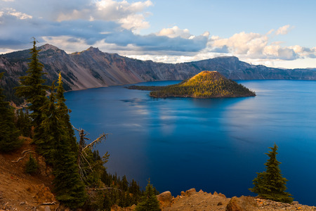 Crater Lake National Park, Oregon at sunset photo