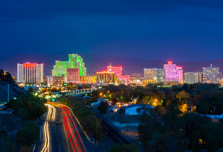 nevada: Reno, USA - October 31, 2014: Reno, known as The Biggest Little City in the World, is famous for its casinos, and is the birthplace of the gaming corporation Harrahs Entertainment