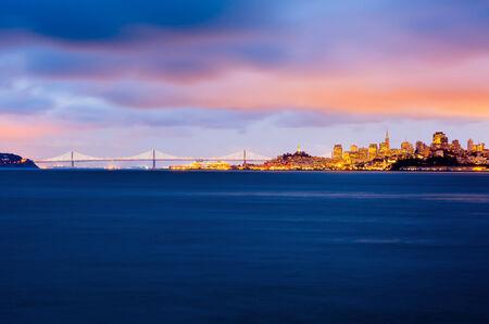 San Francisco and Bay Bridge at dusk