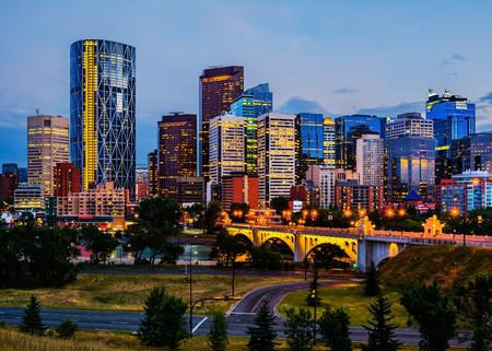 calgary: Buildings in Calgary Canada at night Stock Photo