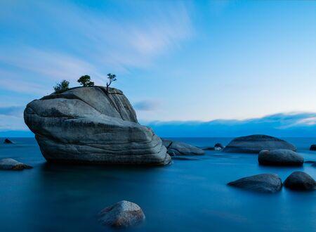 lake tahoe: Bonsai Rock, Lake Tahoe after sunset Stock Photo