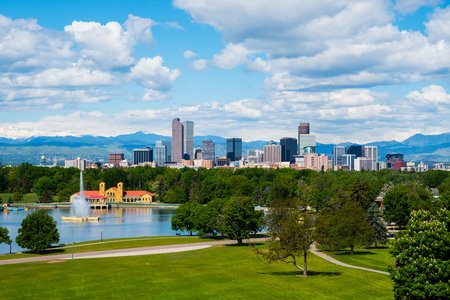 denver city park: Denver Colorado downtown with City Park
