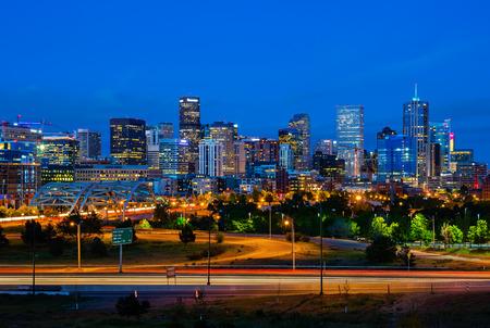 Downtown Denver Colorado at night 스톡 콘텐츠