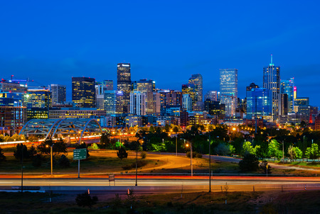 Downtown Denver Colorado at night Stock Photo