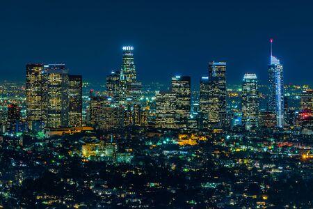 Los Angeles skyscrapers at night 版權商用圖片