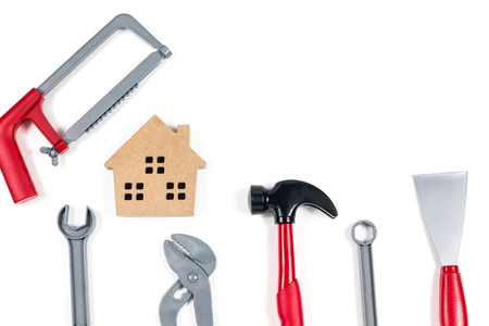 Wooden houses and mechanics and the use of financial planning, banking, home repair loans, and engineer or technician safety Banco de Imagens