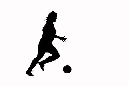 Silhouette of a woman soccer player running after the soccer ball. Imagens