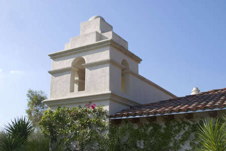 Old California mission observation and bell tower.