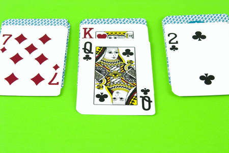 A dealt hand of solitaire for a single player.