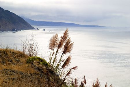 A scenic drive through Big Sur, California USA, experiencing a beautiful seascape on an overcast day.