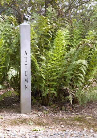 Granite sign post designating the autumn season surrounded by plants.