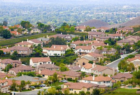 suburban: a peaceful suburban neighborhood overlooking a valley community