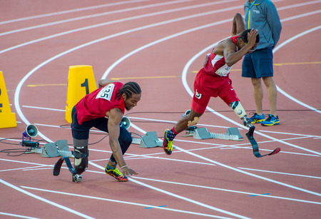 Shaquille Vance sets new Parapan Am Record and wins Gold Medal in Men's 100m T42 Final during the Parapan Am Games in Toronto 2015. An interesting note, The race had two starts: in the first one Shaquille fell.All competitors were called back and the race 報道画像