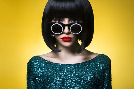 Studio fashion photo of beautiful stylish woman Stock Photo