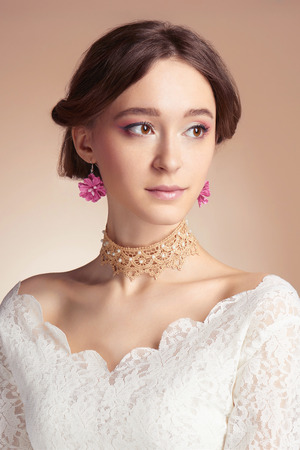 Sensual Woman in bride dress. Beauty model girl.Beautiful Girl