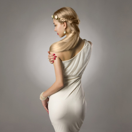 head and  back: beautiful sexy blond woman.fashion portrait of beaty girl with flowers in hair
