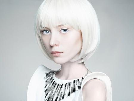 beautiful blond young woman. bob hairstyle girl.future fashion Foto de archivo