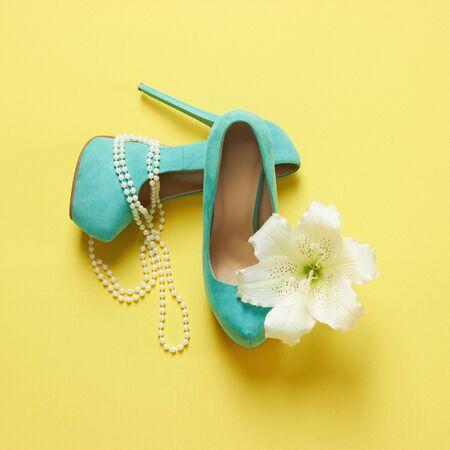 rich woman: beautiful woman shoes with flower.beauty still life.feminine tricks.high heels