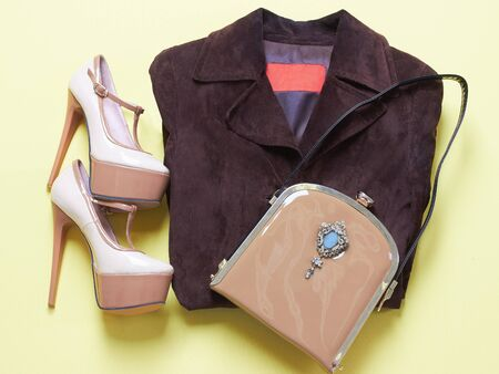 jacked: woman shoes with handbag.beauty wear still life.feminine tricks Stock Photo