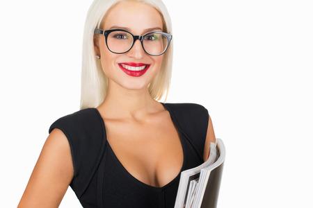 ビジネス ・ ウーマンのメガネ。セクシーな金髪先生。学生の女の子の笑顔