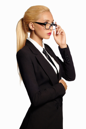 space suit: beauty business woman in formal suit and tie. sexy teacher.beautiful blond girl in suit Stock Photo