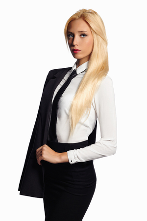 beauty business woman in formal suit and tie. sexy teacher.beautiful blond girl in suit Stock Photo