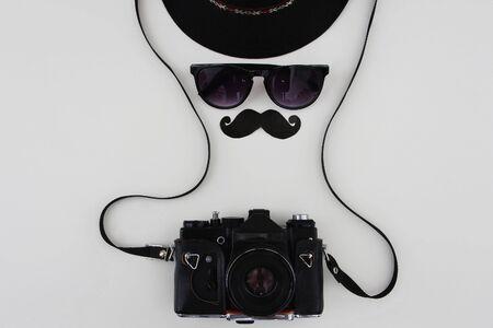fashion art: Still life photographer. Still life camera and sunglasses.gentleman Stock Photo