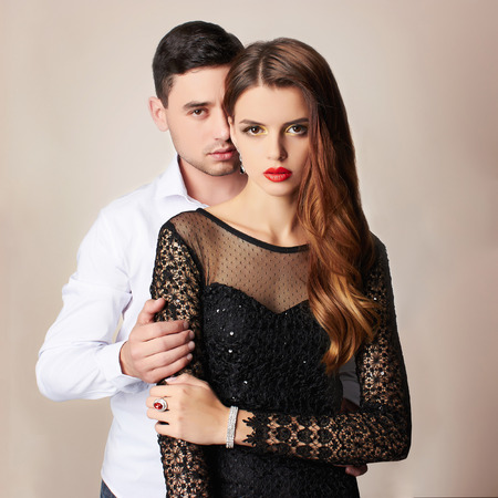 fashion beautiful couple.woman near the man.beauty girl and boy together