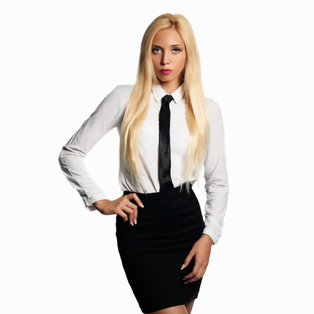 beauty business woman in formal wear and tie. sexy teacher.beautiful blond girl Stock Photo