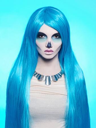 girl dress: halloween zombie girl.death skeleton make-up.horror woman.walking dead