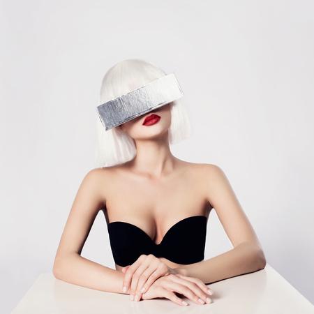 seductress: future beautiful young woman. fantastic fashion beauty girl in silver glasses