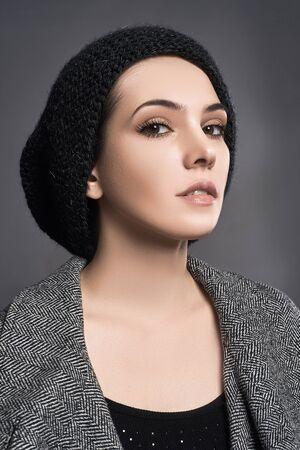 casual wear: fashionable beautiful young woman in cap. beauty girl in hat. casual wear Stock Photo