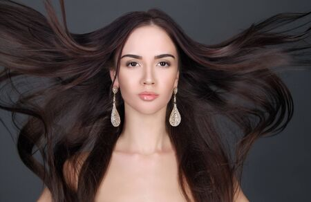 color model: young beautiful woman with long hair.pretty girl. Beauty salon haircare Stock Photo