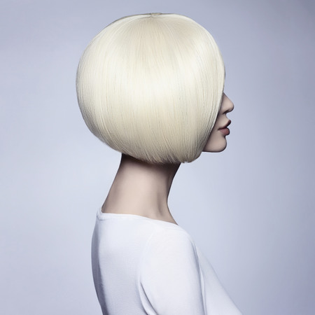 Beautiful woman with unusual bob hairstyle.blonde model girl