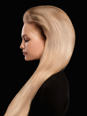 beautiful blonde wonderful hair.girl with Blond Hair over back background
