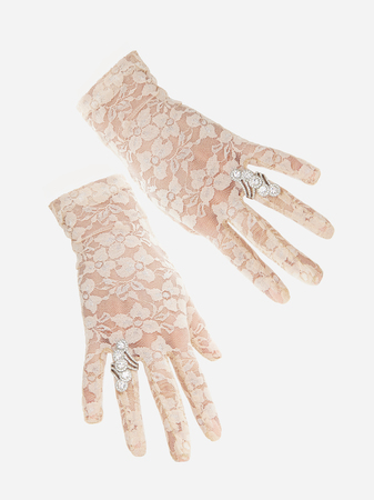 lace gloves: lace gloves with fashionable womens jewels.wedding female hands in gloves with jewelry Stock Photo